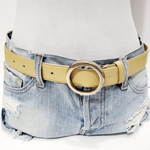 Byblos cream silver circle buckle leather belt